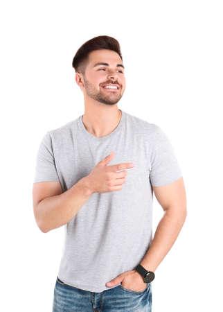 Porträt des gutaussehenden Mannes isoliert auf weiß Standard-Bild