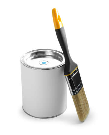Closed blank can of paint with brush isolated on white