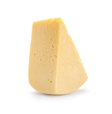 Piece of delicious cheese on white background
