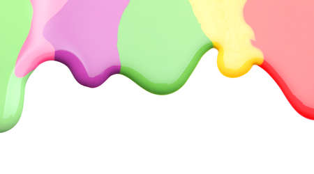 Colorful nail polishes spilled on white background