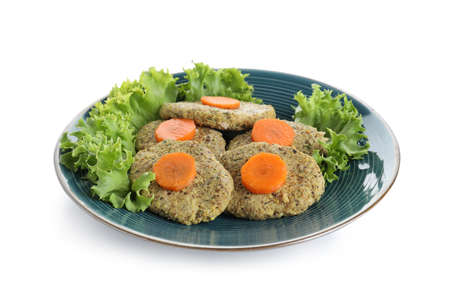 Plate of traditional Passover (Pesach) gefilte fish isolated on white