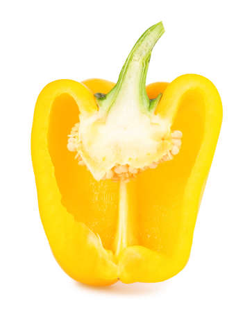 Half of yellow bell pepper isolated on white
