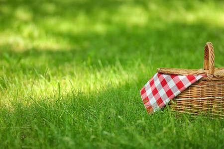 Panier en osier avec couverture sur l'herbe verte dans le parc, espace pour le texte. Pique-nique d'été