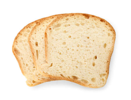 Slices of wheat bread isolated on white, top view Stock Photo