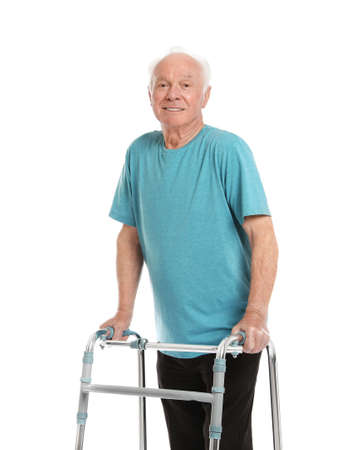 Portrait of elderly man using walking frame isolated on white