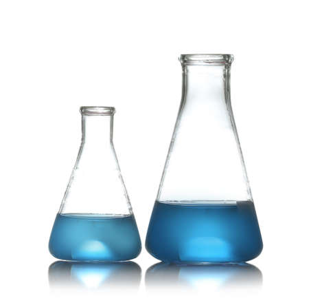 Conical flasks with liquid samples on white background. Chemistry glassware