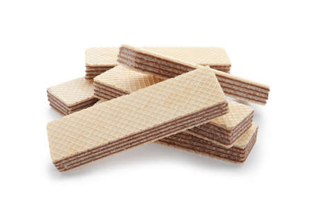 Delicious crispy wafers on white background. Sweet food Banco de Imagens
