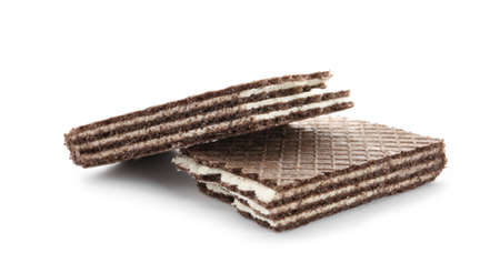 Halves of chocolate wafer stick isolated on white background Banco de Imagens