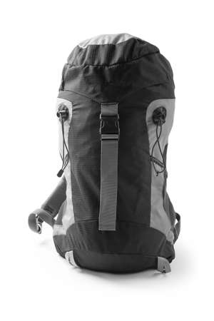 Stylish capacious backpack on white background. Camping equipment
