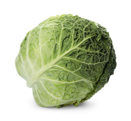 Fresh ripe savoy cabbage isolated on white Archivio Fotografico