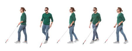 Set of young blind man with long cane walking on white background