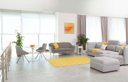 Soggiorno con mobili moderni e decorazioni eleganti. Idee di colore per interni