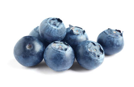 Fresh raw tasty blueberries isolated on white