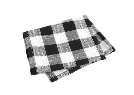 Toalla de cocina a cuadros negra doblada sobre fondo blanco.