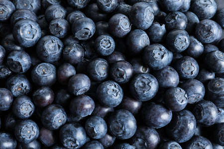 Fresh raw blueberries as background, top view