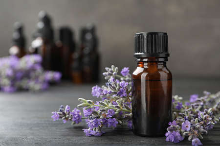 Bottle with natural lavender oil and flowers on wooden table against grey background, closeup view. Space for text Standard-Bild - 126912248