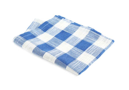 Folded blue checkered kitchen towel on white background 免版税图像