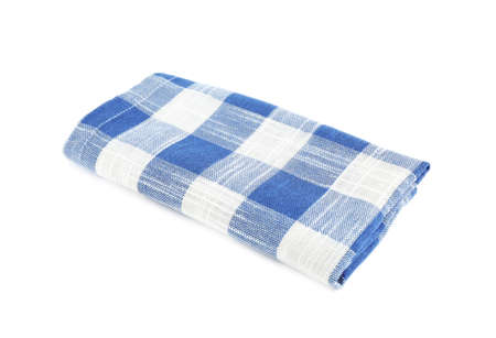 Folded blue checkered kitchen towel on white background Reklamní fotografie
