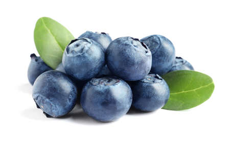 Fresh raw tasty blueberries with leaves isolated on white 스톡 콘텐츠