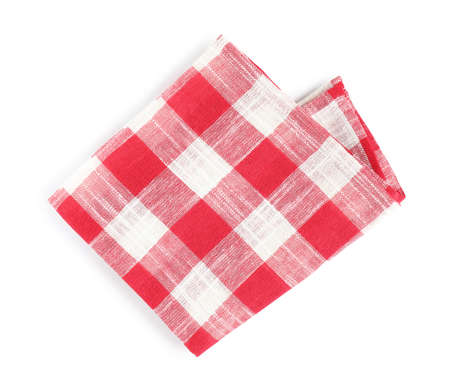 Folded red checkered kitchen towel on white background, top view