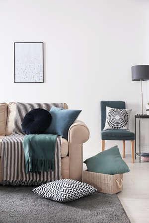 Wnętrze salonu z wygodną sofą i poduszkami