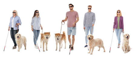 Set of blind people with long canes and dogs on white background