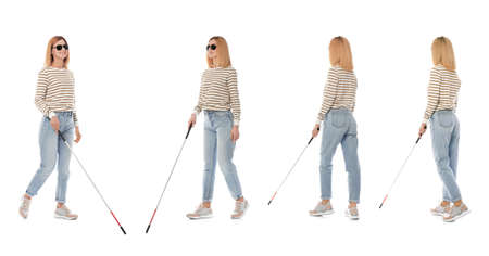 Set of blind woman with long cane walking on white background Imagens