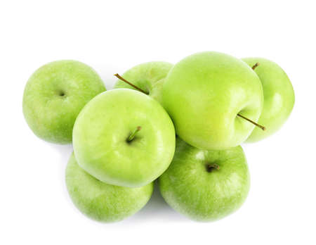 Pile of fresh ripe green apples on white background, top view