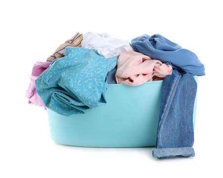 Basin full of dirty laundry isolated on white Reklamní fotografie