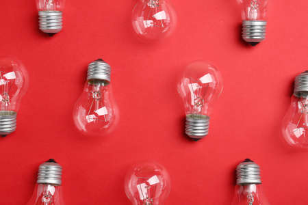 New incandescent lamp bulbs on red background, flat lay