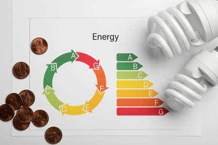 Flat lay composition with energy efficiency rating chart, coins and light bulbs on white background