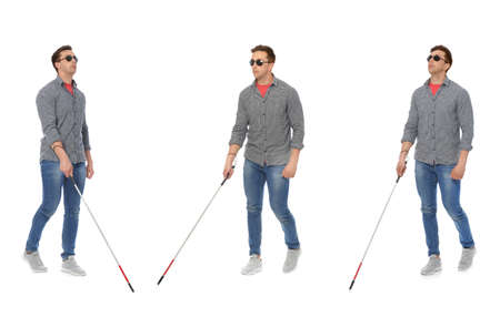 Set of blind man with long cane walking on white background Imagens