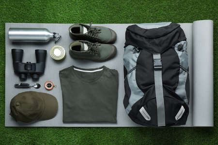Flat lay composition with different camping equipment on green grass 免版税图像
