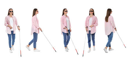 Set of blind woman with long cane walking on white background