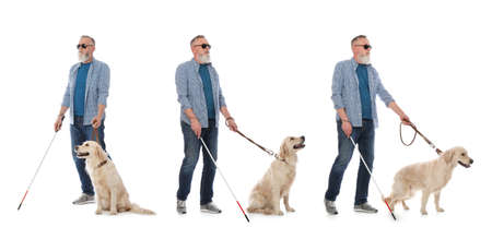 Set of senior blind man with long cane and dog on white background
