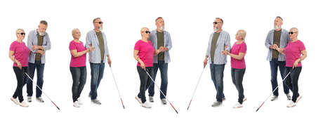 Set of mature blind people with long cane walking on white background