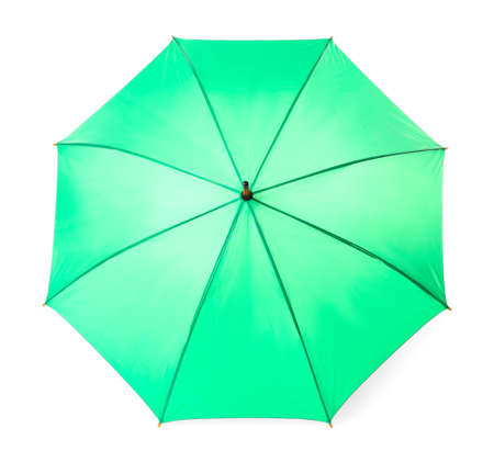 Modern opened green umbrella isolated on white