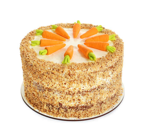 Delicious natural carrot cake isolated on white Standard-Bild