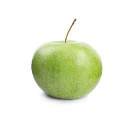 Frischer reifer grüner Apfel auf weißem Hintergrund