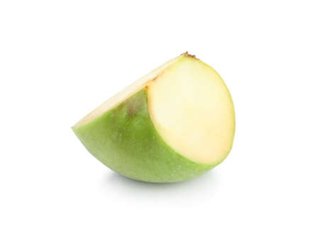 Piece of fresh green apple on white background