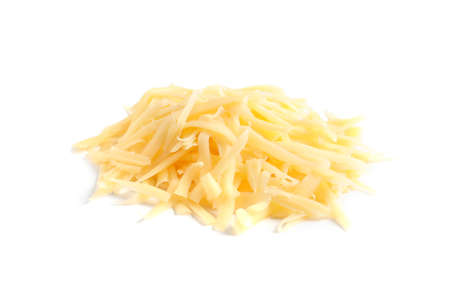 Heap of grated delicious cheese on white background