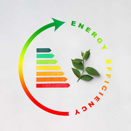 Energy efficiency rating and green leaves on light background, top view Archivio Fotografico