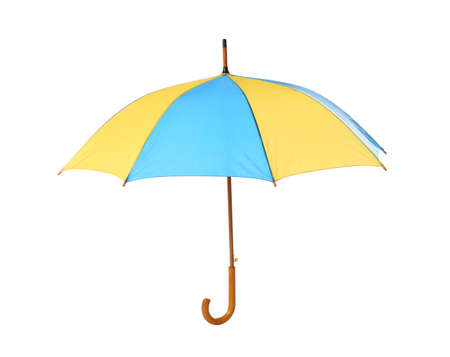 Modern opened bright umbrella isolated on white
