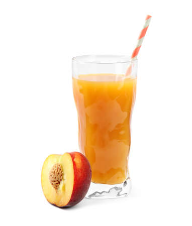 Delicious refreshing peach cocktail in glass and fresh fruit on white background