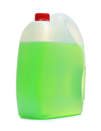 Plastic canister with liquid for car on white background
