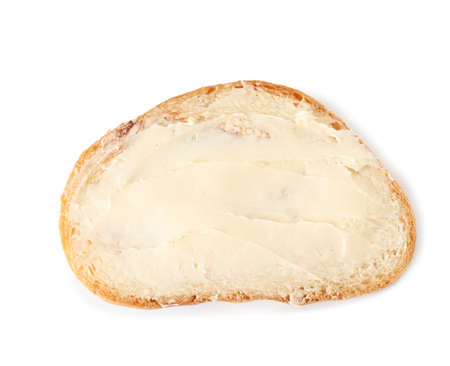 Slice of bread with butter isolated on white, top view Zdjęcie Seryjne