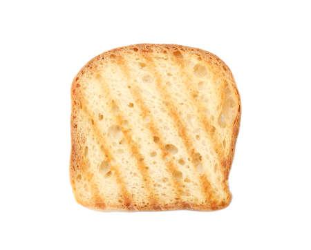 Kromka grillowanego chleba pszennego na białym tle, widok z góry
