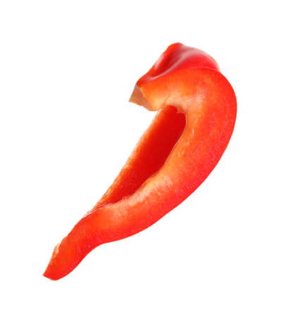 Slice of ripe red bell pepper on white background