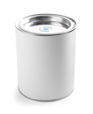 Closed blank can of paint isolated on white
