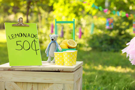 Decorated lemonade stand in park, space for text. Refreshing natural drink